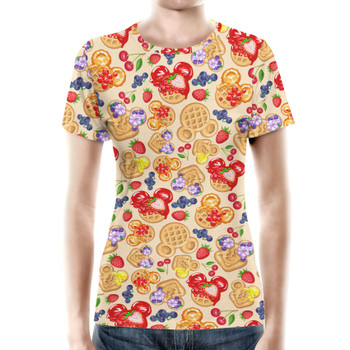 Women's Cotton Blend T-Shirt - Magical Breakfast Waffles