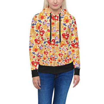 Women's Zip Up Hoodie - Magical Breakfast Waffles