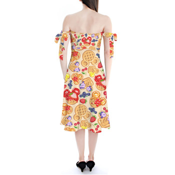 Strapless Bardot Midi Dress - Magical Breakfast Waffles