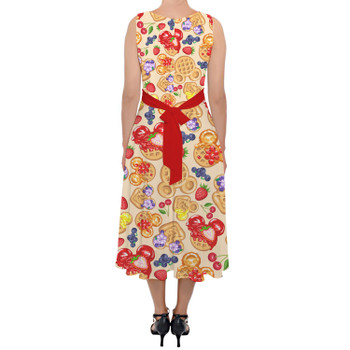 Belted Chiffon Midi Dress - Magical Breakfast Waffles