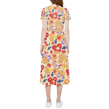 High Low Midi Dress - Magical Breakfast Waffles