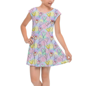 Girls Cap Sleeve Pleated Dress - Cotton Candy Mouse Ears
