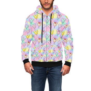 Men's Zip Up Hoodie - Cotton Candy Mouse Ears