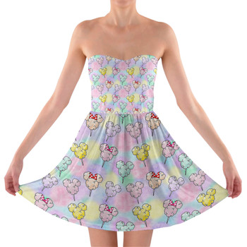 Sweetheart Strapless Skater Dress - Cotton Candy Mouse Ears