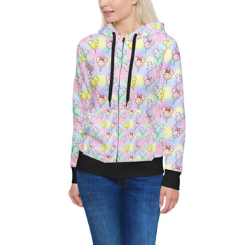 Women's Zip Up Hoodie - Cotton Candy Mouse Ears