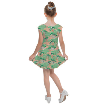 Girls Cap Sleeve Pleated Dress - The Camouflaged Child