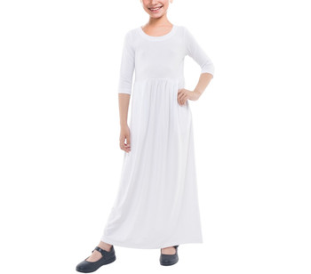 Girls 3/4 Sleeve Cotton Maxi Dress
