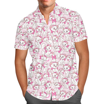Men's Button Down Short Sleeve Shirt - Marie with her Pink Bow