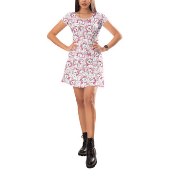 Short Sleeve Dress - Marie with her Pink Bow