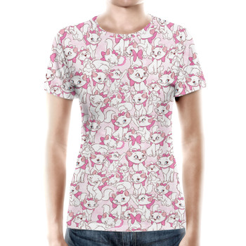 Women's Cotton Blend T-Shirt - Marie with her Pink Bow