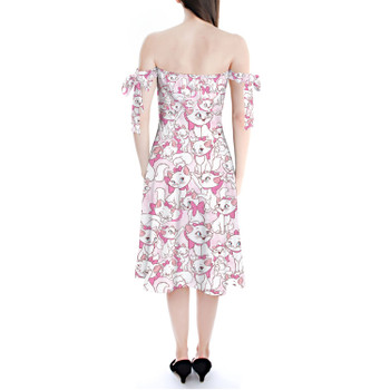 Strapless Bardot Midi Dress - Marie with her Pink Bow