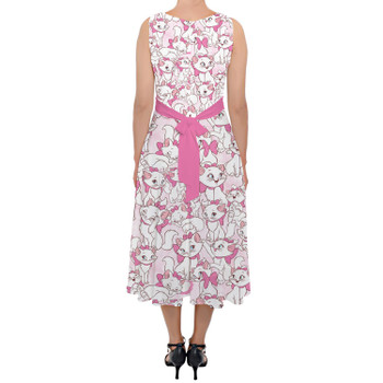 Belted Chiffon Midi Dress - Marie with her Pink Bow