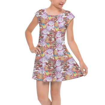 Girls Cap Sleeve Pleated Dress - The Aristocats in Watercolor