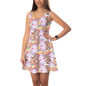 Sleeveless Flared Dress - The Aristocats in Watercolor