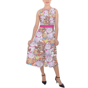 Belted Chiffon Midi Dress - The Aristocats in Watercolor
