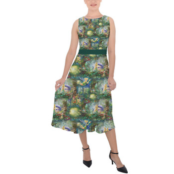 Belted Chiffon Midi Dress - Tinkerbell in Pixie Hollow