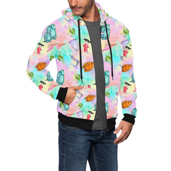 Men's Zip Up Hoodie - Watercolor Monsters Inc