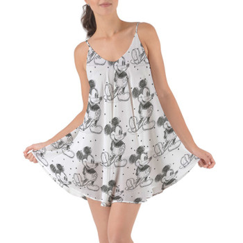 Beach Cover Up Dress - Sketch of Mickey Mouse