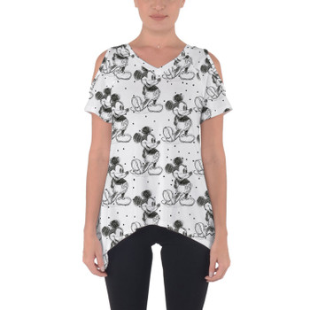 Cold Shoulder Tunic Top - Sketch of Mickey Mouse