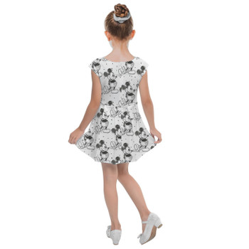 Girls Cap Sleeve Pleated Dress - Sketch of Mickey Mouse