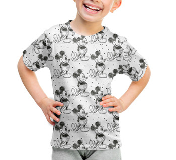 Youth Cotton Blend T-Shirt - Sketch of Mickey Mouse