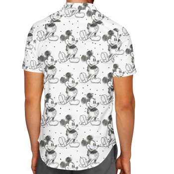 Men's Button Down Short Sleeve Shirt - Sketch of Mickey Mouse