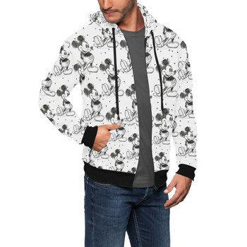 Men's Zip Up Hoodie - Sketch of Mickey Mouse