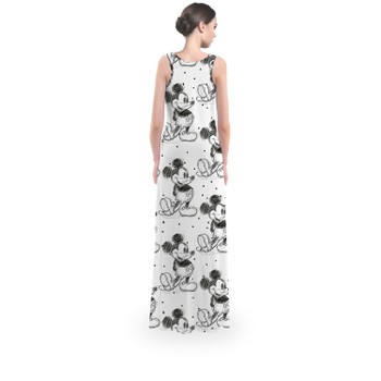 Flared Maxi Dress - Sketch of Mickey Mouse
