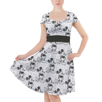 Sweetheart Midi Dress - Sketch of Mickey Mouse