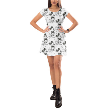 Short Sleeve Dress - Sketch of Mickey Mouse