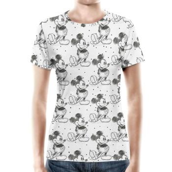 Women's Cotton Blend T-Shirt - Sketch of Mickey Mouse