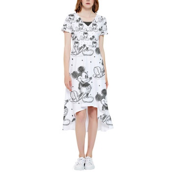 High Low Midi Dress - Sketch of Mickey Mouse