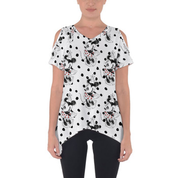 Cold Shoulder Tunic Top - Sketch of Minnie Mouse