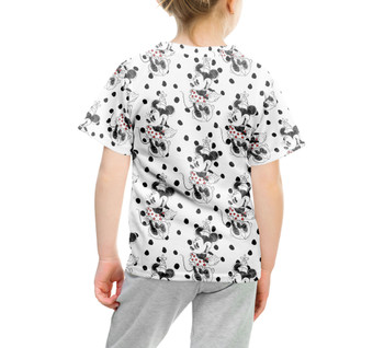 Youth Cotton Blend T-Shirt - Sketch of Minnie Mouse