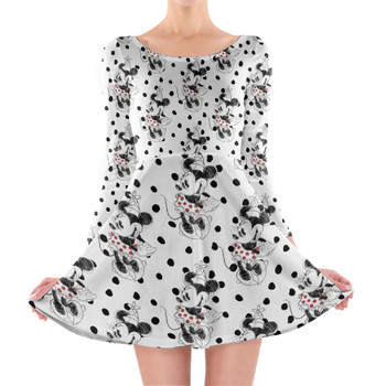 Longsleeve Skater Dress - Sketch of Minnie Mouse