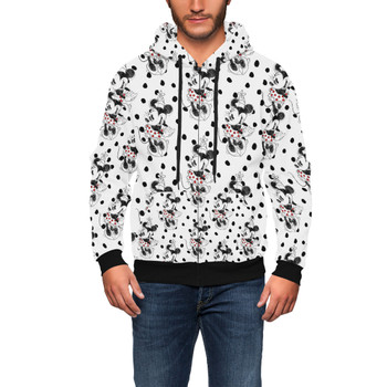 Men's Zip Up Hoodie - Sketch of Minnie Mouse