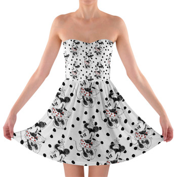 Sweetheart Strapless Skater Dress - Sketch of Minnie Mouse
