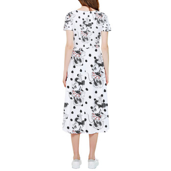 High Low Midi Dress - Sketch of Minnie Mouse