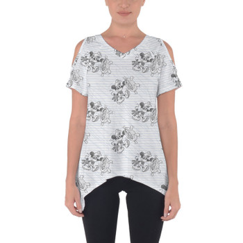 Cold Shoulder Tunic Top - Sketch of Steamboat Mickey
