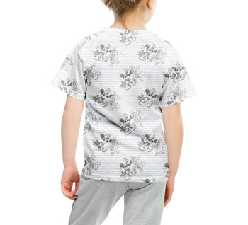 Youth Cotton Blend T-Shirt - Sketch of Steamboat Mickey