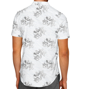 Men's Button Down Short Sleeve Shirt - Sketch of Steamboat Mickey