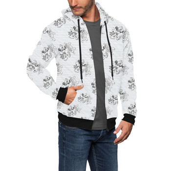 Men's Zip Up Hoodie - Sketch of Steamboat Mickey