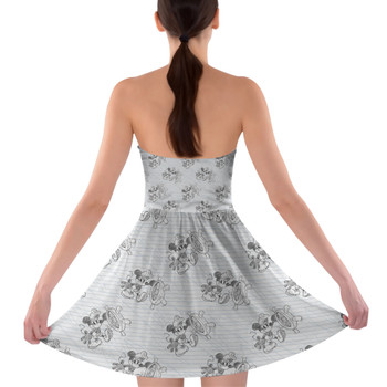 Sweetheart Strapless Skater Dress - Sketch of Steamboat Mickey