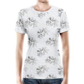 Women's Cotton Blend T-Shirt - Sketch of Steamboat Mickey