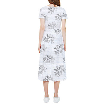 High Low Midi Dress - Sketch of Steamboat Mickey