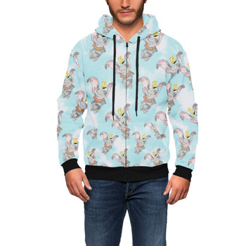 Men's Zip Up Hoodie - Sketch of Dumbo