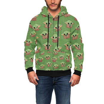 Men's Zip Up Hoodie - The Child Catching Frogs