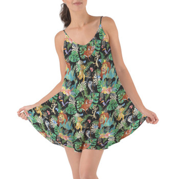 Beach Cover Up Dress - Watercolor Lion King Jungle