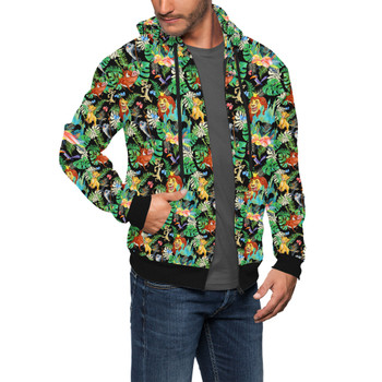 Men's Zip Up Hoodie - Watercolor Lion King Jungle