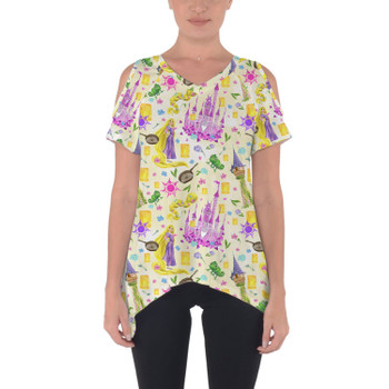 Cold Shoulder Tunic Top - Watercolor Tangled